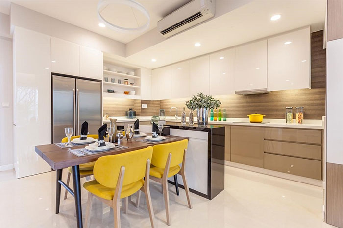 Gỗ MDF được ứng dụng trong trang trí nhà bếp, phòng ăn