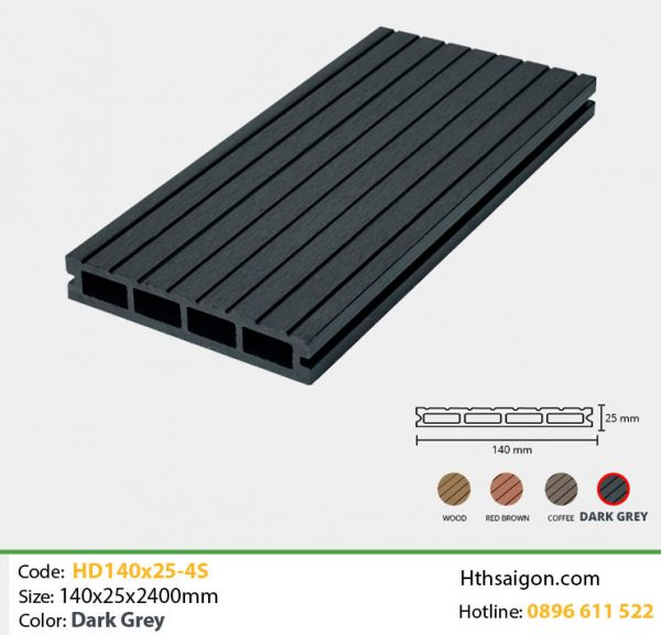 Gỗ nhựa HD140-25-4s Dark Grey