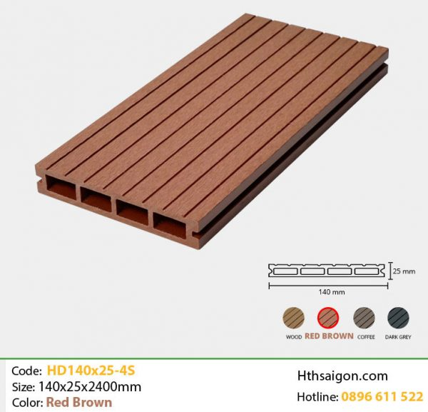 Gỗ nhựa HD140x25-4S Red Brown