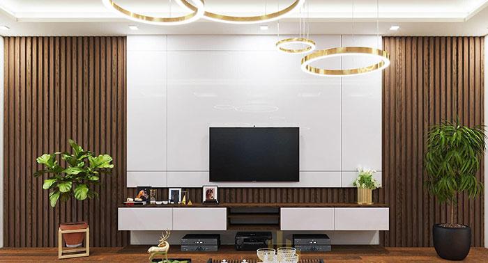 Ốp tường trang trí phòng khách bằng tấm nhựa giả đá và tấm ốp lam sóng